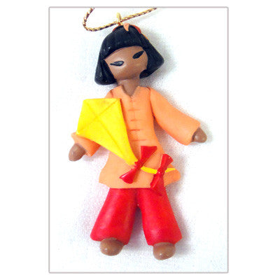 Asian Girl Resin Christmas Ornament - Lin from China