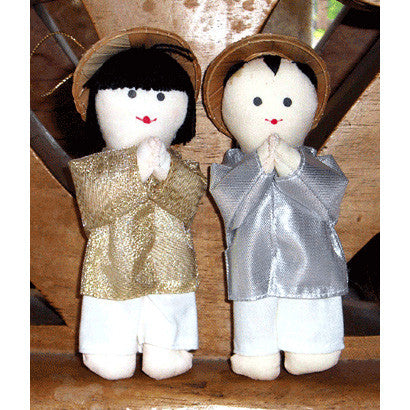 Vietnamese Boy & Girl Christmas Ornaments - Gold & Silver