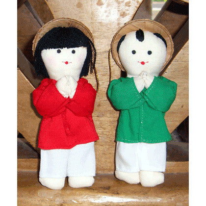 Vietnamese Boy & Girl Christmas Ornaments - Red & Green