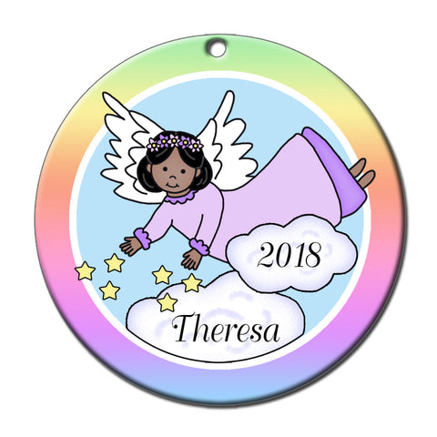 Angel Personalized Christmas Ornament - Stars