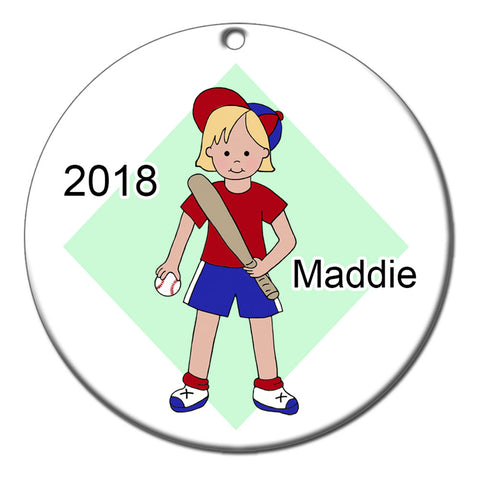 Baseball Girl Personalized Christmas Ornament