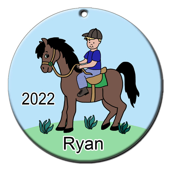 Boy on Horse Personalized Christmas Ornament