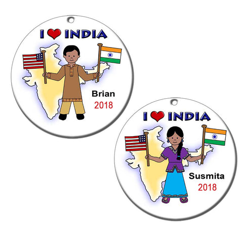 I Love India Adoption Christmas Ornament