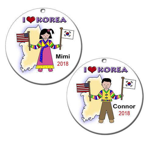 I Love Korea Adoption Christmas Ornament
