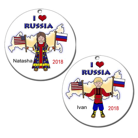 I Love Russia Adoption Christmas Ornament