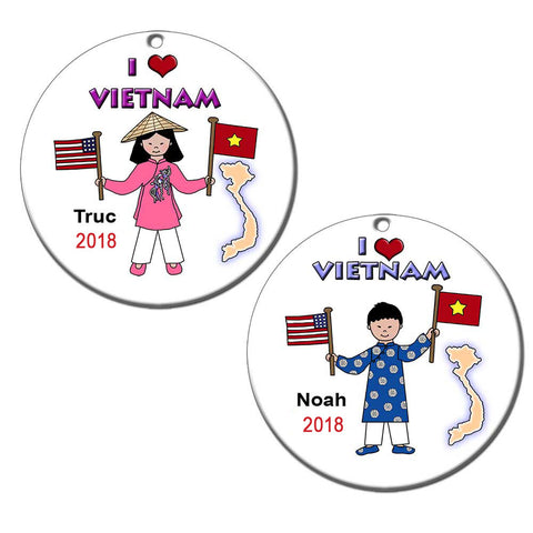 I Love Vietnam Adoption Christmas Ornament