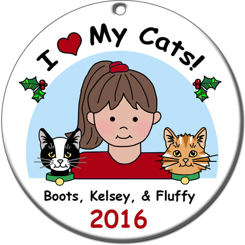 Love my Pets Personalized Christmas Ornament - Girl