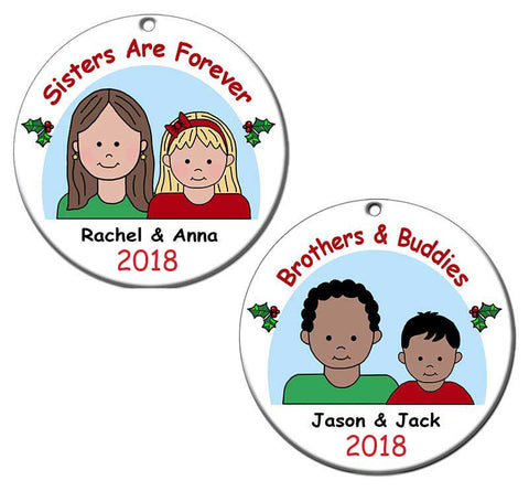 Siblings or Friends Personalized Christmas Ornament
