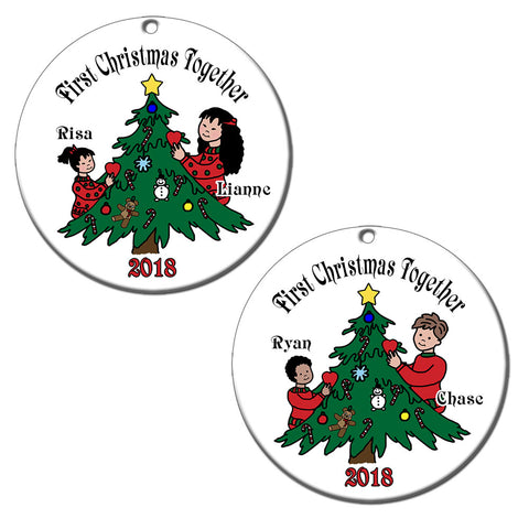 Siblings Decorating Tree Adoption Christmas Ornament