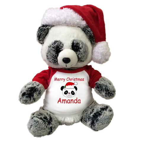 "Personalized Christmas Panda Bear - 11"" Ping Panda with Santa Hat"