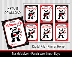 Panda Valentine Cards - Boys-  Digital Print at Home Valentines cards, Instant Download