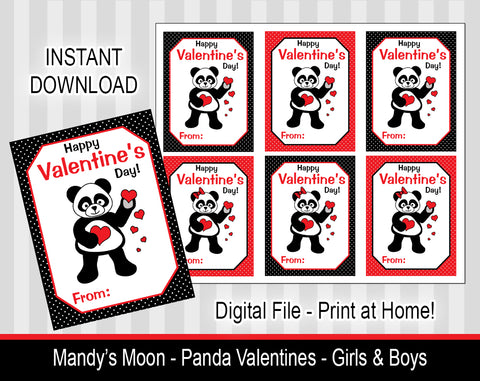 Panda Valentine Cards - Girls and Boys - Digital Print at Home Valentines cards, Instant Download