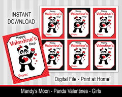 Panda Valentine Cards - Girls - Digital Print at Home Valentines cards, Instant Download