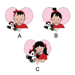 Examples of girls. Girl A is an Asian baby girl with just a little bit of hair. Girl B is an Asian baby girl with a topknot pony tail. Girl C is a young Asian girl with pigtails.
