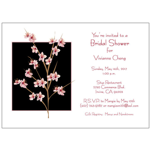 Peach Blossom Invitation - Wedding or Bridal Shower