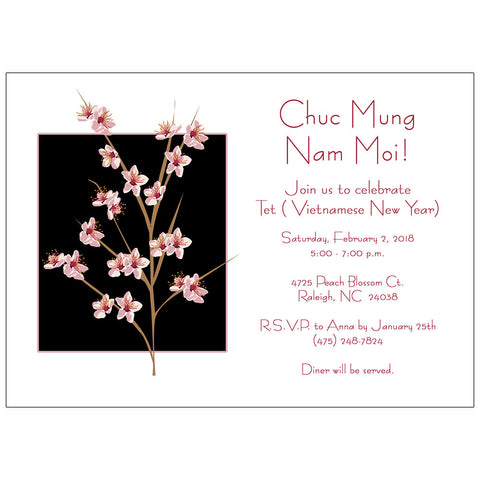 Peach Blossom Invitation - Tet or Chinese New Year