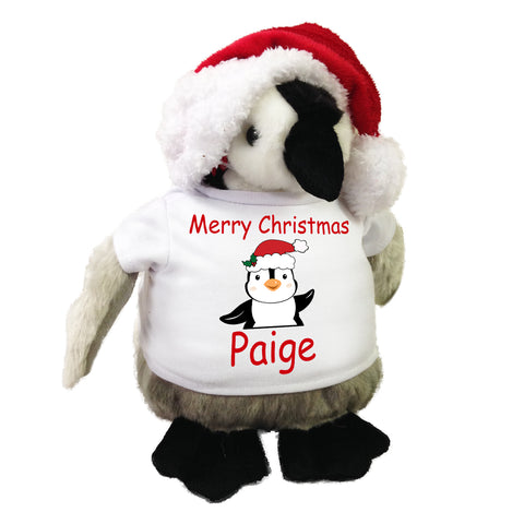 Personalized Christmas Penguin - 9 Inch Plush Penguin with Santa Hat