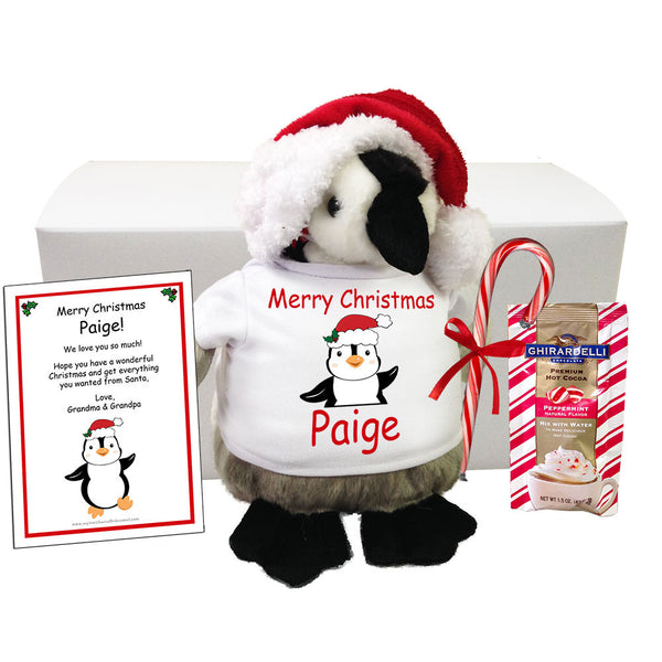 "Personalized Stuffed Penguin Christmas Gift Set - 9"" Plumpee Penguin"