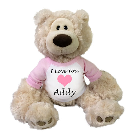 "Personalized Valentine Teddy Bear - 12"" Gund Beige Philbin Bear"