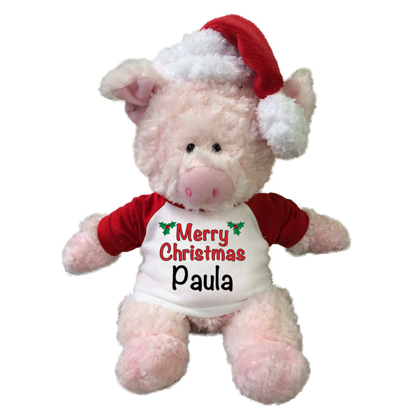 Personalized Christmas Cow - 12 Inch Tubbie Wubbie Pig with Santa Hat
