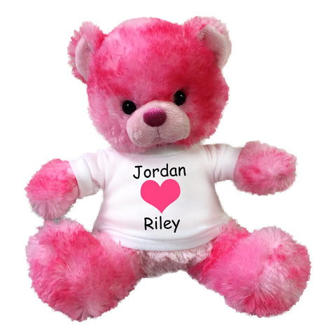 "Personalized Valentine Teddy Bear - 10"" Pink Cherrydrop Bear"