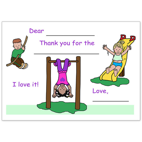 Playground Fill In the Blank Thank You Notes for Kids