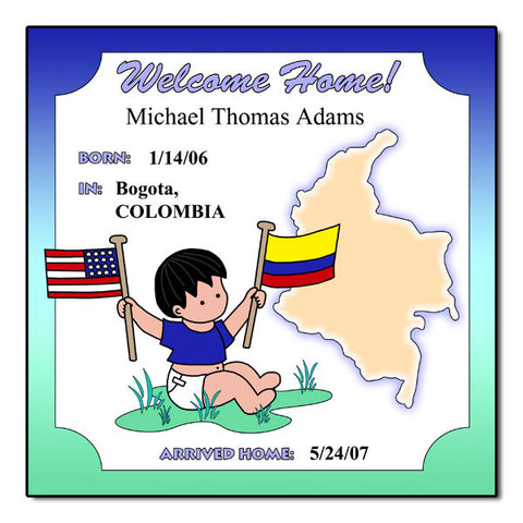 Baby Boy Adoption Plaque - Colombia