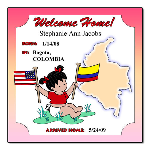 Baby Girl Adoption Plaque - Colombia