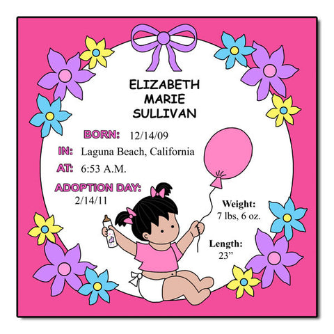 Baby Girl Adoption Plaque - Fanciful Flowers