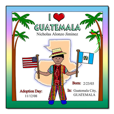 I Love Guatemala Adoption Plaque - Boy