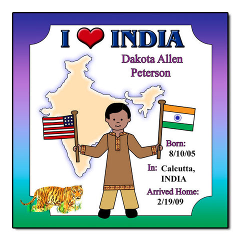 I Love India Adoption Plaque - Boy