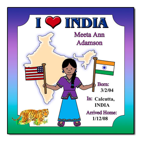 I Love India Adoption Plaque - Girl