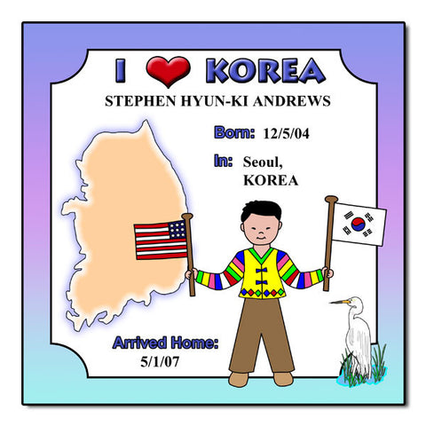 I Love Korea Adoption Plaque - Boy