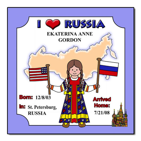 I Love Russia Adoption Plaque - Girl