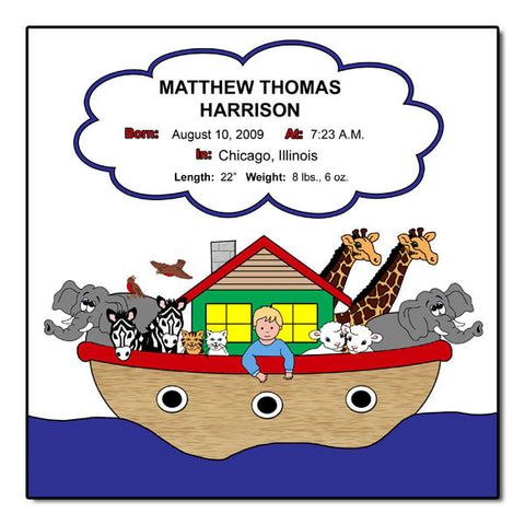 Noah's Ark Personalized Birth Plaque - Primary