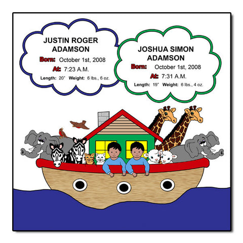 Noah's Ark Twins Birth Plaque - Primary