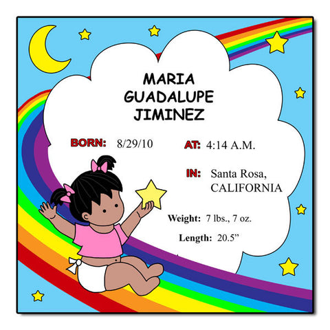 Personalized Baby Girl Birth Plaque - Rainbow Baby