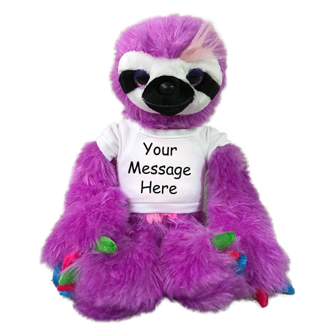 Personalized Stuffed Sloth - 15 inch Purple Sloth