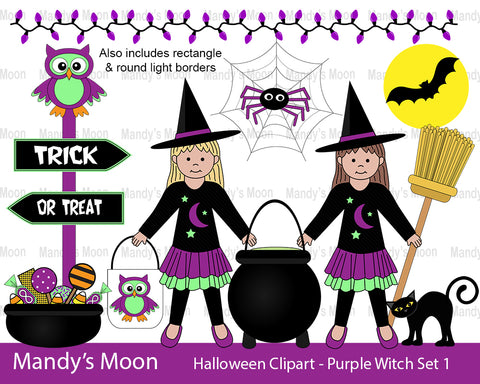 Halloween Purple Witch Girls Clipart Set 1 (Personal & Nonpr