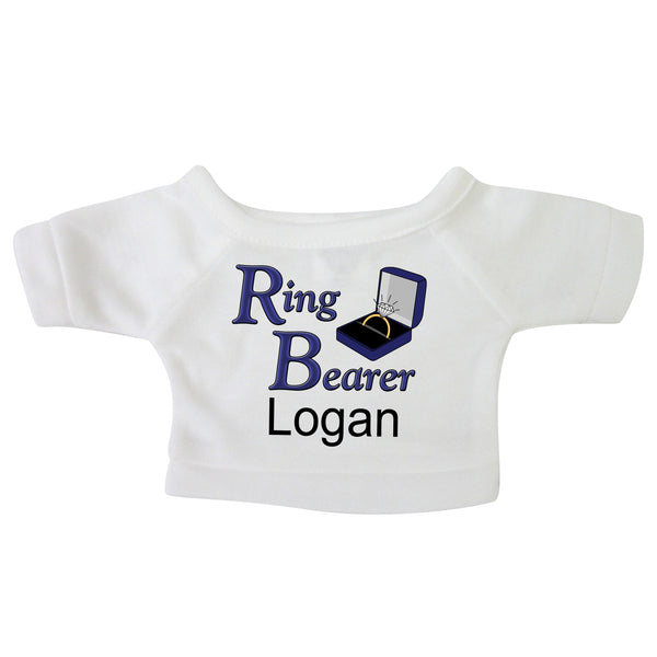 "Personalized T-Shirt for 12-14"" Teddy Bears or Stuffed Animals - Ring Bearer Design"