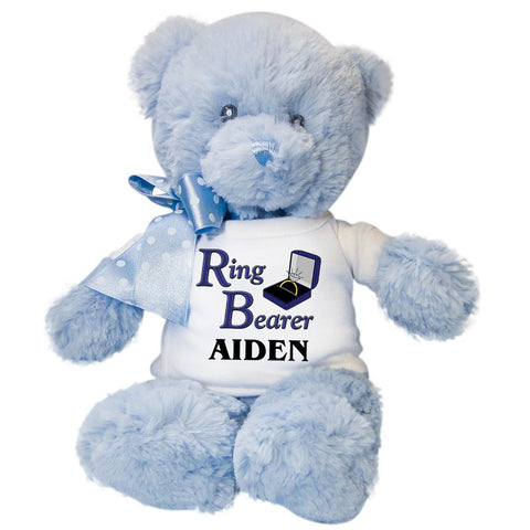 "Ring Bearer Teddy Bear -  Personalized 12"" Blue Baby Bear"