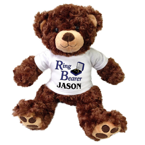 "Ring Bearer Teddy Bear -  Personalized 13"" Brown Vera Bear"