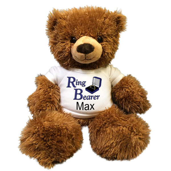 "Ring Bearer Teddy Bear -  Personalized 14"" Brown Tummy Bear"