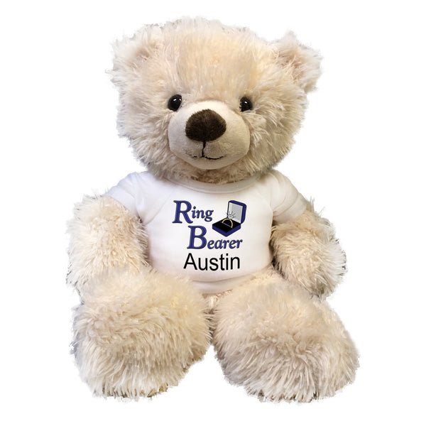 "Ring Bearer Teddy Bear -  Personalized 14"" Cream Tummy Bear"