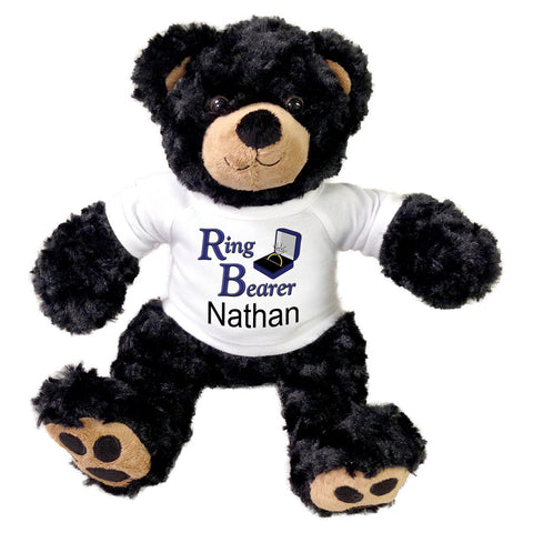 "Ring Bearer Teddy Bear -  Personalized 12"" Black Vera Bear"