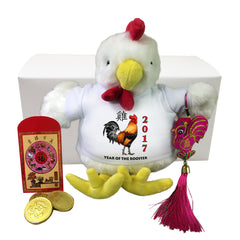 "Year of the Rooster 2017 Chinese New Year Gift Set - 9"" Stuffed Rooster"
