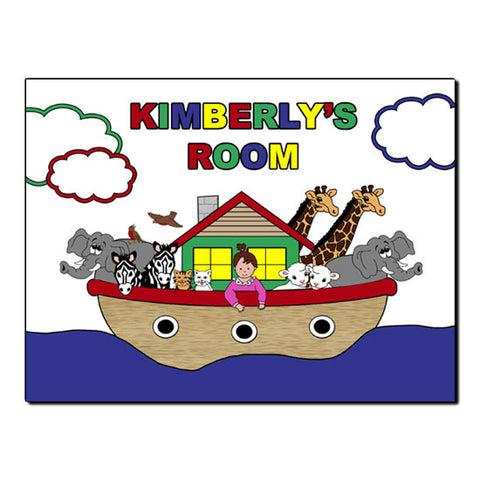Noah's Ark Baby Room Sign - Primary Colors (Girl)