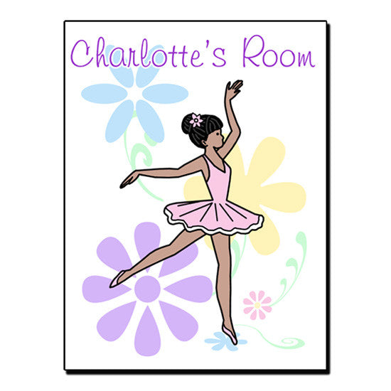 Dainty Floral Ballerina Room Sign