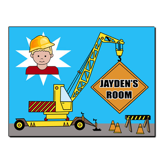 Construction Boy Room Sign - Crane