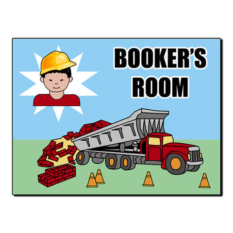 Construction Boy Room Sign - Dump Truck